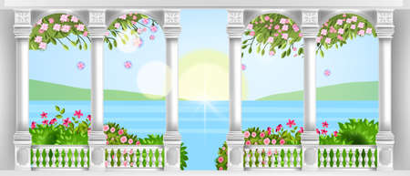 Vector palace balustrade, ancient roman marble balcony with arches, pillars, handrail, blossom, roses, bushes. European classic architecture background with spring landscape. Summer palace columns Vektorgrafik
