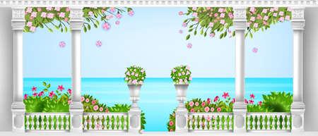 Spring Mediterranean balustrade, vector roman balcony, marble pillars, vases, blooming bushes, sea. Summer palace terrace, sakura blossom, classic architecture elements. Marble balustrade background