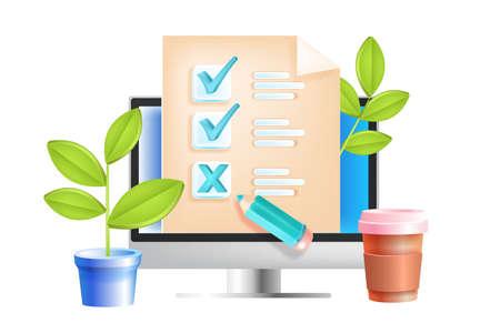 Online survey, internet questionnaire, web feedback, education test vector concept, computer screen. Digital quiz report, marketing research, quality review illustration. Online SMM survey, checkboxes
