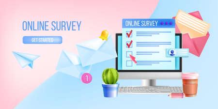 Online survey, internet questionnaire, poll vector web page template, illustration, computer screen. User feedback, customer experience, review banner, cactus, envelopes. Online survey background Векторная Иллюстрация