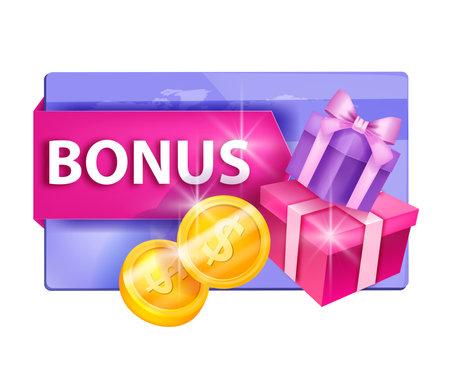 Customer reward, loyalty program vector illustration, gift card concept, present boxes, coins. Client online shopping bonus, internet sale e-commerce points concept. Loyalty program cashback design