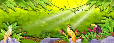 Jungle vector rainforest landscape, palm silhouette, banana leaves, parrot, toucan, sun rays, exotic flowers. Nature green paradise, wood environment background. Jungle landscape, stone, liana, bushes
