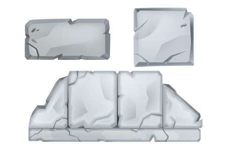 Vector stone sign board, cartoon game rock blocks illustration isolated on white, cracked grey boulders. Granite ui design panels, broken ancient ruin wall interface object. Stone sign surface clipart Ilustración de vector