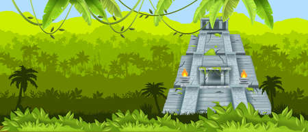 Maya vector pyramid, Aztec ancient temple, Mexican jungle landscape, rainforest silhouette, fire, liana. America historical archeological landmark, travel background. Stone maya pyramid, palm, leaf Vektoros illusztráció