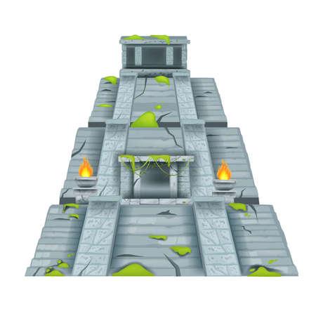 Maya pyramid, vector Aztec stone temple, ancient jungle ruin illustration isolated on white, moss, fire. Travel Mexico landmark clipart, archeological old civilization monument. Maya pyramid structure Vektoros illusztráció