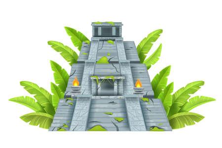 Maya ancient pyramid, Aztec temple ruin, vector cartoon landmark illustration isolated on white. Mexico archeological historical ziggurat, old civilization building. Maya pyramid, stone jungle castle Vektoros illusztráció