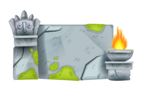 Cartoon stone sign board, rock game block, vector maya totem face, fire plate, moss, granite cracks. Nature UI design object, ancient civilization ruin surface. Aztec sign board, idol tiki mask, wall