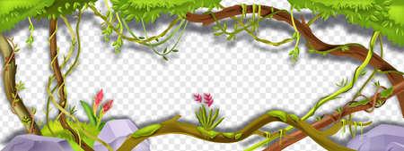 Jungle liana vector green frame, tropical vine branch illustration on transparent background. Paradise plant, green vegetation, exotic flower, stone, moss, tree trunk. Amazon rainforest liana frame Ilustração Vetorial