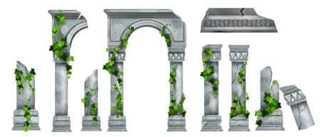 Vector marble roman pillar ruin set, Greek ancient architecture columns, green ivy leaves, climber plant. Temple stone arch collection, historical palace broken colonnade. Medieval pillar cracked ruin