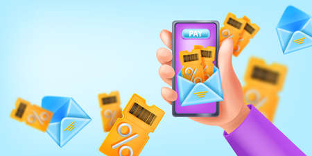 Loyalty program vector app add, 3D hand holding smartphone, gift voucher bonus reward, open envelope. Customer SMM newsletter banner, virtual payment, shopping sale coupon. Loyalty program background Illustration