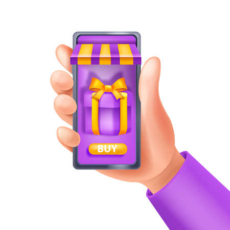 3D hand holding smartphone, online shopping vector illustration, loyalty program app concept, gift box. E-commerce internet customer sale, advertising message, virtual purchase. Isolated 3D hand