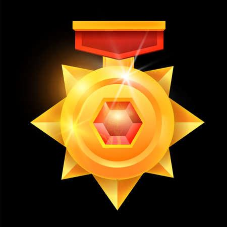 Golden medal game award, vector winner badge icon, champion victory reward, red ribbon, gemstone. Geometry star honor achievement illustration mobile RPG UI success rating trophy. Golden medal clipart