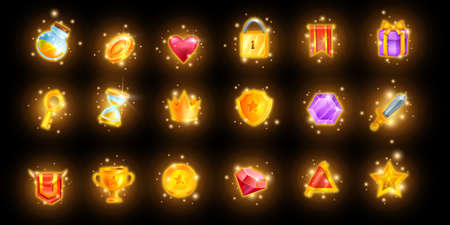 Magic game icon set, mobile casino app UI collection, golden reward trophy kit, glowing crown. Vector treasure assets, inventory objects, spark RPG shield, award crown level up prize. Online game icon