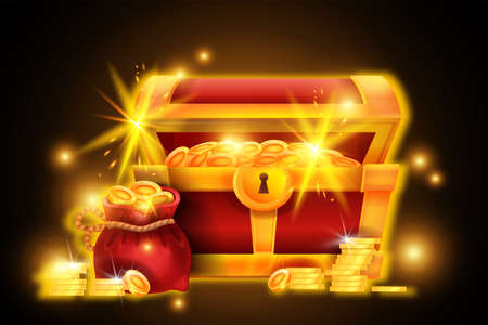 Gold chest treasure illustration, vector red pirate open box, coin pile, money bag, game success icon. Old medieval antique full trunk, ancient design abundance element. Gold chest, casino win concept