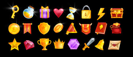 Game icon UI set, vector user casino interface badge kit, golden reward element, crown, award shield. RPG mobile app inventory object pack, red magic book, gift box, trophy cup, prize medal. Game icon