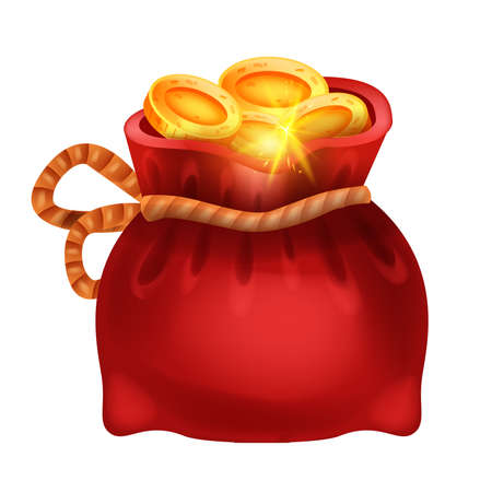 Red golden coin money bag, vector isolated treasure sack, pirate hidden RPG prize, game gift icon. Chinese lucky pocket, payment deposit illustration, victory bonus UI element. Golden bag clipart Illustration