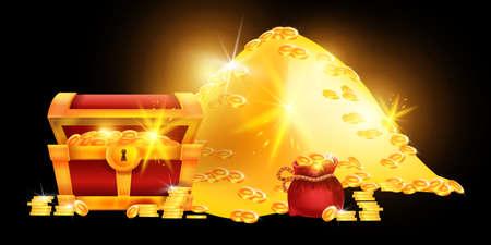 Treasure chest vector illustration, golden coin pile, red money bag, pirate hidden trunk shiny wealth. Game UI cartoon ancient case, glowing cash success abundance rich concept. Treasure chest clipart
