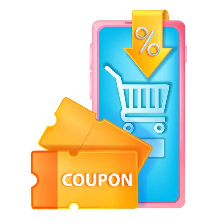3D discount coupon illustration, vector online shopping sale concept, smartphone screen, voucher, cart. Customer bonus point offer, e-commerce digital payment, yellow lucky ticket. 3D virtual coupon Illustration
