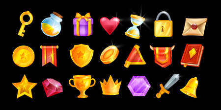 UI game icon set, vector casino interface object kit, magic inventory element collection, golden crown. Mobile app badge pack, magic potion bottle, trophy cup, letter, notification bell. Game icons