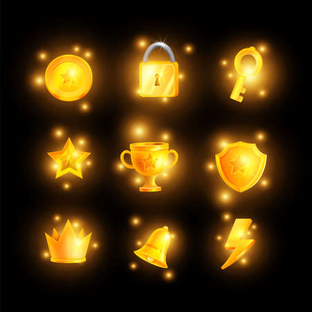 Golden game icon set, vector UI shiny casino badge kit, winner trophy shield, glow magic sparks. Mobile app 2D award objects, online prize crown, bell, yellow bonus star level up medal. Game icon pack Illustration