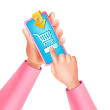 3D hand holding vector smartphone, online shopping concept, virtual purchase mobile app, percent. Internet e-commerce customer promotion banner, digital sale. Illustration