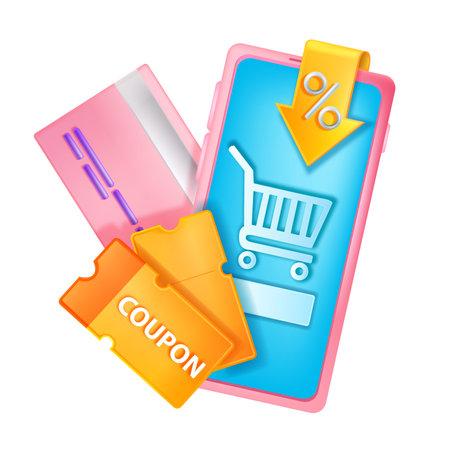 3D discount coupon illustration, vector sale event gift voucher, smartphone screen, credit card. Online shopping sale concept, internet purchase bonus reward, mobile app. 3D special customer coupon Illustration
