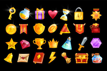 Vector game icon set, mobile casino app object kit, RPG inventory badge, golden trophy cup, medal. UI design element, winner crown, red flag, treasure chest, magic potion, coin. Online game icon pack