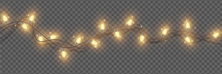 Christmas lights, vector holiday festive illumination, x-mas glowing garland, New Year decor element. Winter party border, glowing wreath on transparent background. Christmas lights, carnival lamps