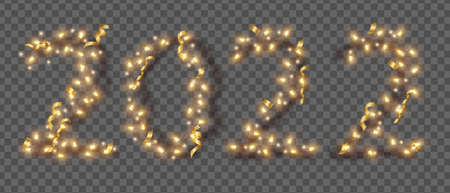 2022 New Year light vector numbers, holiday bright garland, Christmas festive decor illustration. Party illuminated design on transparent background, golden confetti, bulb lamp. 2022 garland clipart