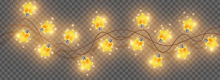 Merry Christmas light garland, vector bright star lamp string, holiday festive glow decoration golden glitter. X-mas party celebration element on transparent background. Christmas season lights border Illustration