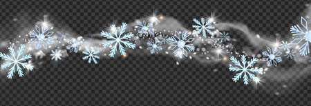 Winter snow wind, vector Christmas blizzard snowflakes border, white frost smoke, sparkle storm. Holiday frozen flakes, magic silver waves on transparent background. Snow wind New Year decoration