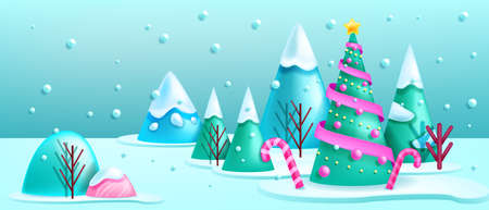 Christmas winter 3D landscape forest background, vector holiday x-mas scene, decorated pine tree. Season frost view, mountain, snow drift, candy cane, New Year postcard. Christmas landscape banner