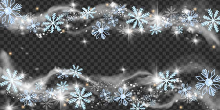 Christmas snow wind vector illustration, winter snowflake blizzard frame, x-mas frost spark border. Season holiday snowstorm cloud frozen magic silver wave on transparent background. Snow wind clipart