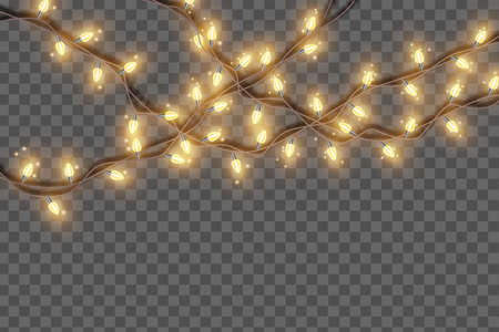 Christmas lights string garland, vector bright holiday bulb lamp New Year party festive decoration. X-mas celebration illuminated design on transparent background. Winter event border Christmas lights