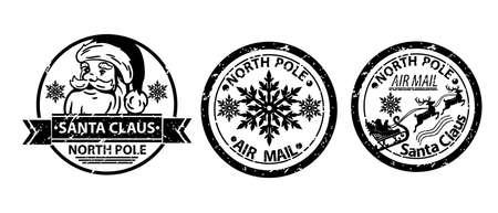 Christmas Santa Claus stamp vector set, winter North Pole mail postage, holiday vintage letter sign. X-mas grunge postcard label, snowflake symbol silhouette reindeer delivery tag. Christmas ink stamp Illustration