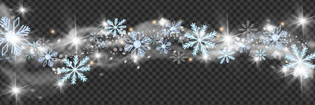 Christmas snow wind vector border, winter white blizzard frame, holiday snowflakes star cloud. X-mas frozen swirl on transparent background, New Year sparkle decoration, silver wave. Snow wind clipart Illustration