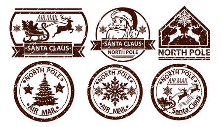 Christmas mail stamp, vector Santa Claus postage, north pole vintage postal sign isolated on white. X-mas grunge postcard label, holiday correspondence print, reindeer silhouette. Christmas ink stamp Illustration