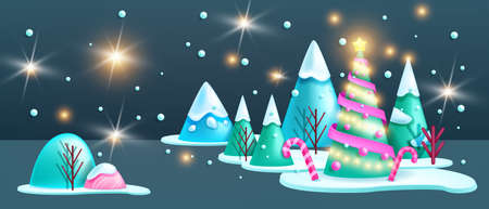 Winter Christmas landscape, 3D vector night holiday abstract forest background, X-mas scene, pine tree. New Year December minimal cold view, mountain, white snowdrift, candy cane. Christmas landscape