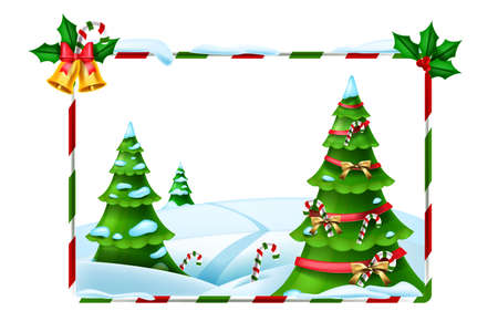 Christmas holiday vector frame, New Year winter background, forest view, decorated x-mas tree. Celebration festive framework, snowdrift, candy cane, golden bell. Christmas striped cartoon frame