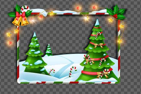 Christmas winter frame, vector holiday x-mas border decoration, festive pine tree, snow drift, light garland. New Year landscape background, congratulation striped photo banner. Christmas frame design