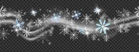Christmas snow wind vector border, winter x-mas blizzard frame on transparent background. Holiday ice snowflake, cloud, sparkle lights, crystal star, New Year decorative silver wave. Snow wind texture Illustration