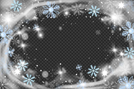 Christmas snow wind circle frame, vector winter blizzard background, crystal frost border, snowflakes. X-mas holiday snowstorm, New Year sparkle round swirl decoration. Frozen snow wind illustration
