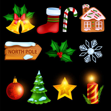Christmas winter icon set, vector holiday x-mas symbol, golden star, red gift sock, gingerbread house. New Year pine tree, snowflake, decoration bell, candy cane, North Pole sign. Christmas icon kit Illustration