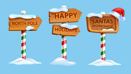 Christmas wooden sign board set, vector winter North Pole postal road pointer, Santa Claus workshop. X-mas holiday frame kit, direction arrow wooden panel banner, UI game objects. Christmas sign