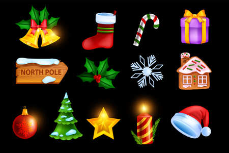 Christmas holiday icon set, vector game x-mas badge kit, New Year winter symbol, gold star, gingerbread. Festive December collection, Santa Claus hat, pine tree. Christmas cartoon icon UI collection