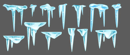 Vector icicle winter set, isolated hanging blue frozen ice, 3D sharp cornice crystal collection. Christmas holiday decoration object pack on transparent background. Winter big icicle illustration kit Illustration