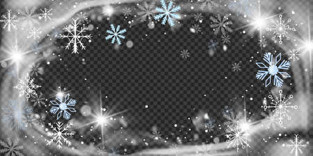 Christmas snow wind circle frame, snowflakes, crystal frost border, vector winter blizzard background. New Year sparkle round swirl decoration, X-mas holiday snowstorm. Frozen wind snow illustration