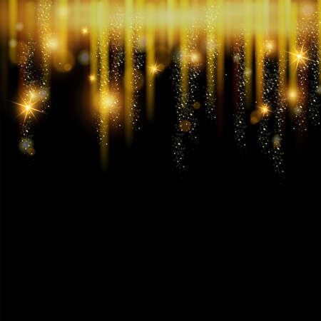 Christmas magic glitter hanging dust background, vector golden star rain banner, x-mas holiday frame. New Year abstract sparking border, glamour spray decoration. Magic shiny fairy dust illustration