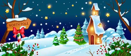 Christmas winter night landscape, vector Santa Claus house illustration, x-mas holiday woodland view. Snow forest horizontal banner, pine tree, stars, small hut. Magic fairy Christmas landscape Illustration
