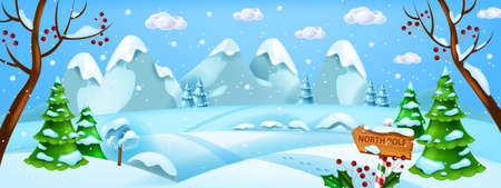 Christmas winter landscape, vector x-mas snow background, North Pole woodland horizontal view. Holiday season cold forest scene, snowdrift, mountains, pine tree. Magic frozen Christmas landscape